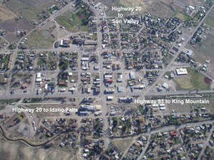 Aerial view of Arco, Idaho looking southwest