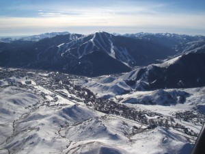 Aerial view of Sun Valley, Ketchum, and Mt Baldy looking southwest