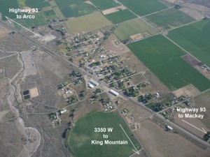 Aerial view of Moore, Idaho looking south